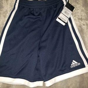 Navy white Adidas boys size 4 shorts NWT